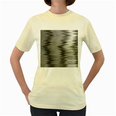 Rectangle Abstract Background Black And White In Rectangle Shape Women s Yellow T-Shirt