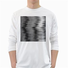 Rectangle Abstract Background Black And White In Rectangle Shape White Long Sleeve T Shirts