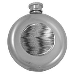 Rectangle Abstract Background Black And White In Rectangle Shape Round Hip Flask (5 oz)