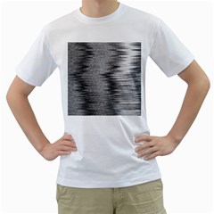 Rectangle Abstract Background Black And White In Rectangle Shape Men s T-Shirt (White)