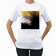 Tree Art Artistic Abstract Background Women s T-Shirt (White) (Two Sided)