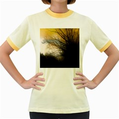 Tree Art Artistic Abstract Background Women s Fitted Ringer T Shirts