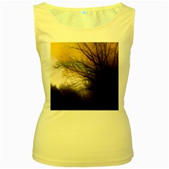 Tree Art Artistic Abstract Background Women s Yellow Tank Top