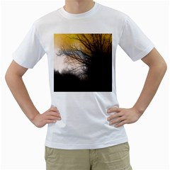Tree Art Artistic Abstract Background Men s T-Shirt (White) (Two Sided)