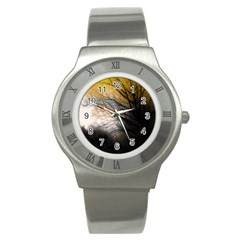Tree Art Artistic Abstract Background Stainless Steel Watch