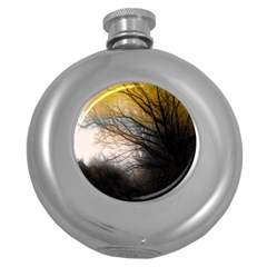 Tree Art Artistic Abstract Background Round Hip Flask (5 oz)