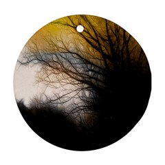 Tree Art Artistic Abstract Background Round Ornament (two Sides)