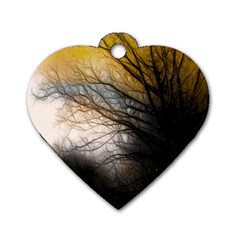 Tree Art Artistic Abstract Background Dog Tag Heart (one Side)