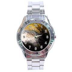 Tree Art Artistic Abstract Background Stainless Steel Analogue Watch