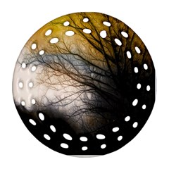 Tree Art Artistic Abstract Background Ornament (Round Filigree)