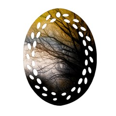 Tree Art Artistic Abstract Background Oval Filigree Ornament (two Sides)