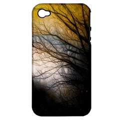 Tree Art Artistic Abstract Background Apple Iphone 4/4s Hardshell Case (pc+silicone)