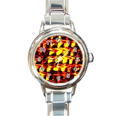 Yellow Seamless Abstract Brick Background Round Italian Charm Watch