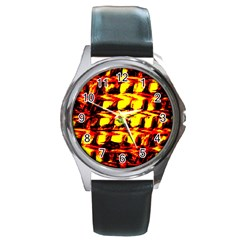 Yellow Seamless Abstract Brick Background Round Metal Watch