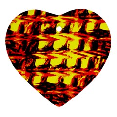 Yellow Seamless Abstract Brick Background Ornament (Heart)