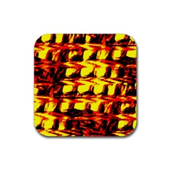 Yellow Seamless Abstract Brick Background Rubber Square Coaster (4 Pack)
