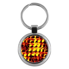 Yellow Seamless Abstract Brick Background Key Chains (Round)
