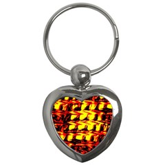 Yellow Seamless Abstract Brick Background Key Chains (heart)