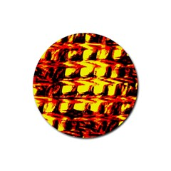 Yellow Seamless Abstract Brick Background Rubber Coaster (Round)