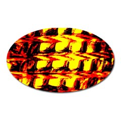 Yellow Seamless Abstract Brick Background Oval Magnet