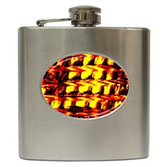 Yellow Seamless Abstract Brick Background Hip Flask (6 oz)