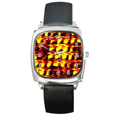 Yellow Seamless Abstract Brick Background Square Metal Watch