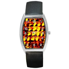 Yellow Seamless Abstract Brick Background Barrel Style Metal Watch