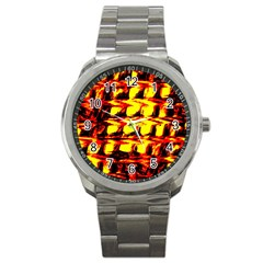 Yellow Seamless Abstract Brick Background Sport Metal Watch
