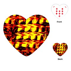 Yellow Seamless Abstract Brick Background Playing Cards (heart)