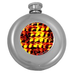 Yellow Seamless Abstract Brick Background Round Hip Flask (5 Oz)