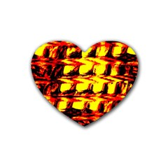 Yellow Seamless Abstract Brick Background Heart Coaster (4 Pack)