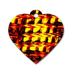 Yellow Seamless Abstract Brick Background Dog Tag Heart (two Sides)