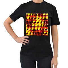 Yellow Seamless Abstract Brick Background Women s T-Shirt (Black)