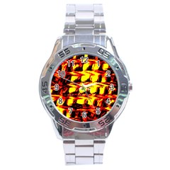 Yellow Seamless Abstract Brick Background Stainless Steel Analogue Watch