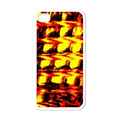 Yellow Seamless Abstract Brick Background Apple iPhone 4 Case (White)