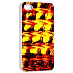 Yellow Seamless Abstract Brick Background Apple iPhone 4/4s Seamless Case (White)