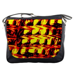 Yellow Seamless Abstract Brick Background Messenger Bags