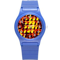 Yellow Seamless Abstract Brick Background Round Plastic Sport Watch (S)