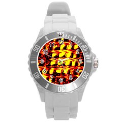 Yellow Seamless Abstract Brick Background Round Plastic Sport Watch (l)