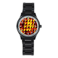 Yellow Seamless Abstract Brick Background Stainless Steel Round Watch