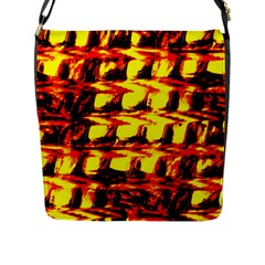 Yellow Seamless Abstract Brick Background Flap Messenger Bag (L)