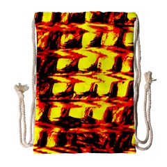 Yellow Seamless Abstract Brick Background Drawstring Bag (large)