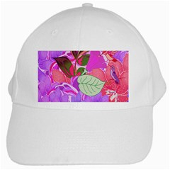 Abstract Design With Hummingbirds White Cap