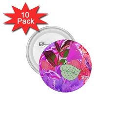 Abstract Design With Hummingbirds 1.75  Buttons (10 pack)