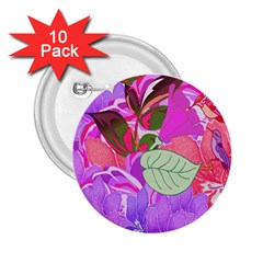 Abstract Design With Hummingbirds 2.25  Buttons (10 pack)