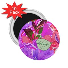 Abstract Design With Hummingbirds 2.25  Magnets (10 pack)