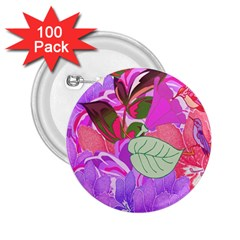 Abstract Design With Hummingbirds 2.25  Buttons (100 pack)