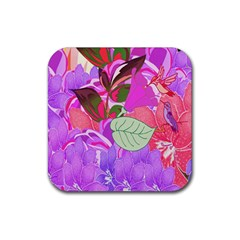 Abstract Design With Hummingbirds Rubber Square Coaster (4 pack)