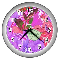 Abstract Design With Hummingbirds Wall Clocks (Silver)