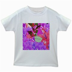 Abstract Design With Hummingbirds Kids White T-Shirts